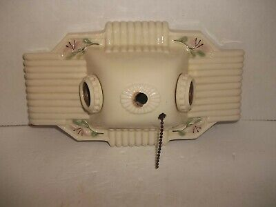 Vintage Antique Flush Mount Art Deco Porcelain Two Light Ceiling Wall Fixture