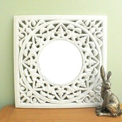 Vintage Style GREY WASH Square ORNATE Resin Cutout Panel WALL MIRROR ART 50cm