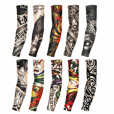 10pcs Tattoo Cooling Arm Sleeves UV Sun Protection Cover Basketball Golf Sport