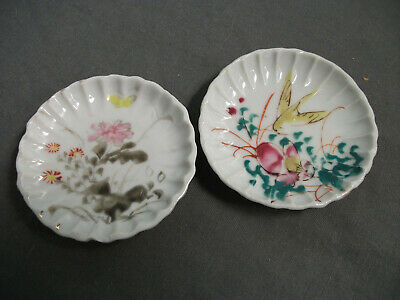 2 Vintage Butter Pats - Porcelain - Hand Painted Flowers Butterfly Bird - 15  72