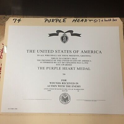 UNITED STATES OF AMERICA - Purple Heart Certificate