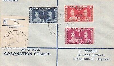 Niue 1937 Coronation Registered First Day Cover Posted To England 55*