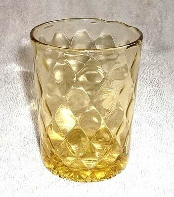 EAPG Honey Amber Tumbler DIAMOND QUILTED Pattern Bryce Bros. Glass Co. 1886