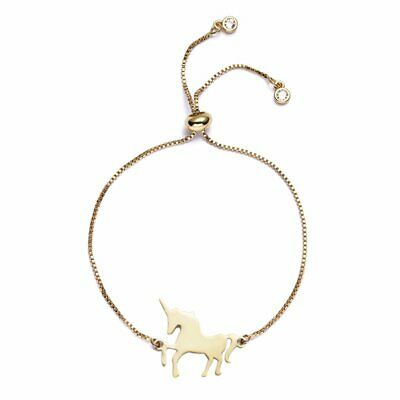 Gold Stainless Steel Horse Animal Bangle Adjustable Chain Bracelet Jewelry Gift