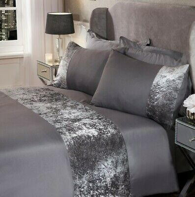 Sienna Crushed Velvet Panel Duvet Cover  Pillow Case Bedding Set Silver Charcoal
