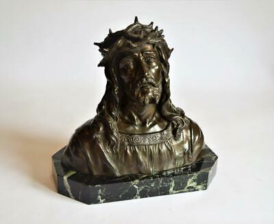 SUPERB ANTIQUE FRENCH BRONZED SCULPTURE BUST OF JESUS CHRIST Signed RUFFONY