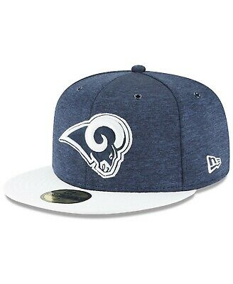 separation shoes a964d 9bc0e Los Angeles Rams NFL OnField Sideline Home 5950 FITTED Flat Bill Brim Cap  Hat LA