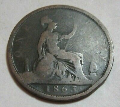 1863 Young Head Queen Victoria One Penny