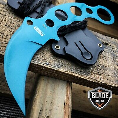 TACTICAL BLUE COMBAT KARAMBIT NECK KNIFE Survival Hunting BOWIE Fixed Blade -H