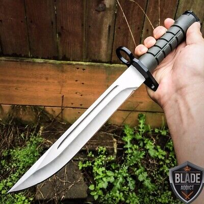 "13.5"" Bayonet US Military Tactical Combat Hunting Knife Fixed Blade Sword-H"