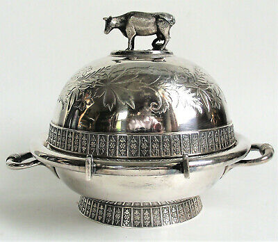 MERIDEN B Antique VICTORIAN Figural COW FINIAL BUTTER DOME Silverplate DISH 4956