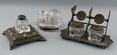 Antique Victorian Aesthetic Glass & Bronze Inkwells Snail, Double + Turtle Igloo