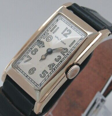 Waltham Wandering Second Rectangular YGF Man Wrist Watch.Excellent Running. RARE