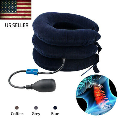 Air Inflatable Cervical Back Relief Neck Traction Brace Support Stretcher Device