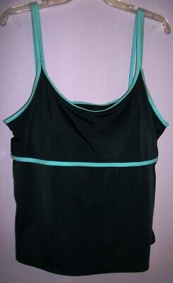 8fb1459aa58 BEACH BELLE Swimsuits for All PLUS Sz 20W Tankini Top Black Turquoise Dbl  Strap