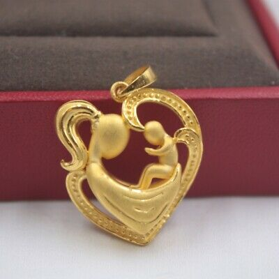 Real 999 Real 24K 3D Yellow Gold Pendant Lady Women Mother Child Loving Heart