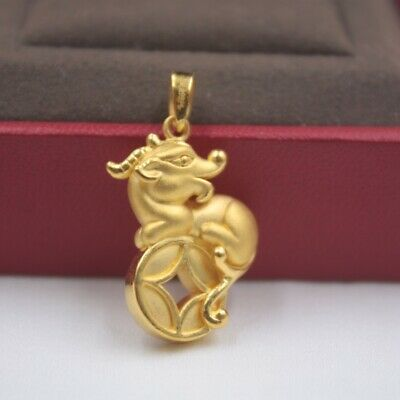 Real 999 Real 24K 3D Yellow Gold Pendant Lady Women Coin Monkey Deer Gift New
