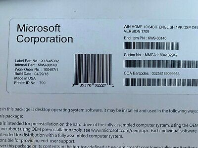 Microsoft Windows 10 Home 64 Bit Full Version,DVD & product Key-Sealed Brand New