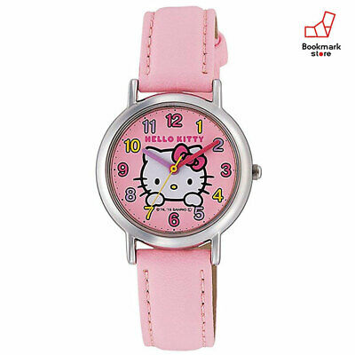 New Hello Kitty Girls Watches CITIZEN Q&Q Pink Leather Belt HK15-002 Waterproof