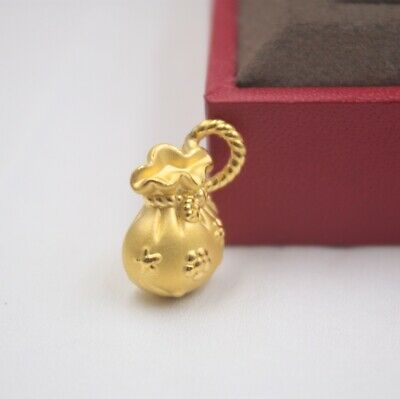 Real 999 Real 24K 3D Yellow Gold Pendant Lady Women Luck Bag Plum Blossom New