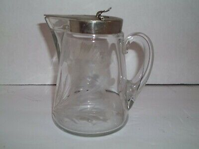 Vintage Pat 1910 Etched Victorian Bird Cattails Glass Syrup Pitcher Metal Cap