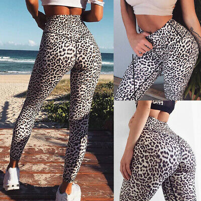 Womens High Waist Yoga Pants Leopard Printed Leggings Workout Fitness Trousers A