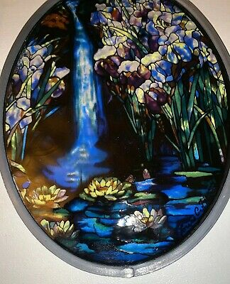 Vintage 1989 Rare Glassmasters Louis C Tiffany Landscape, Waterfall and Lilypads