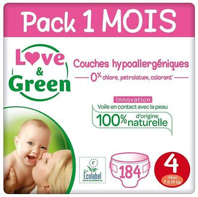 Love & Green Couches Taille 4 (7-14 Kg) - Pack 1 Mois (184 4