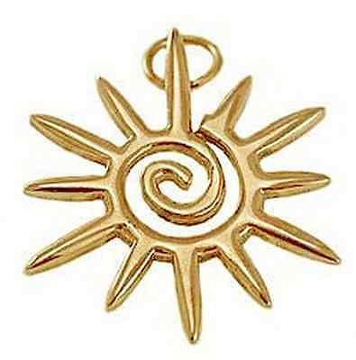 LOOK Celtic Sun Spiral Yellow gold plated Pendant Charm STAR