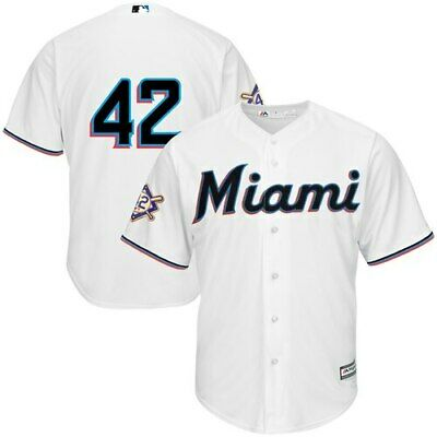 85b02540 Miami Marlins Majestic 2019 Jackie Robinson Day Official Cool Base Jersey -
