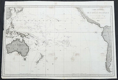 1834 D Urville Large Antique Map of Australia, South Pacific Tracks of Astrolobe