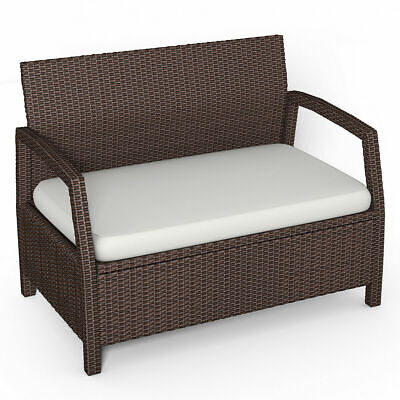 Rattan Loveseat Bench Couch Chair Outdoor Patio Furniture Brown W/ Cushions