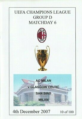 AC MILAN  v CELTIC  2007/08  UEFA CHAMPIONS LEAGUE -  Unofficial Issue