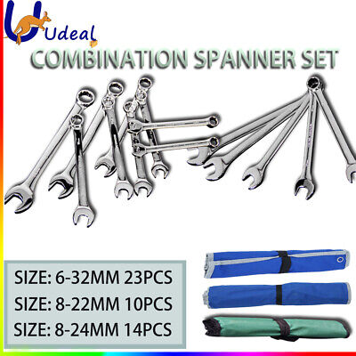 Combination Spanner Set Chrome Wrench Metric Ring Open End CR-V Canvas Bag AU