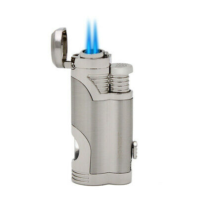 Windproof Double Nozzle Torch Jet Flame Refillable Butane Gas Lighter Silver
