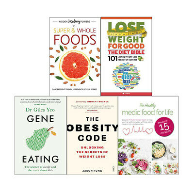 Obesity Code,Gene Eating,Diet Bible, Super & Whole Foods 5 Books Collection Set