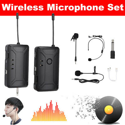 Wireless Lapel Microphone Transmitter Receiver Headset Lavalier Tie Mic System
