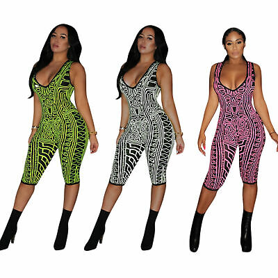 Sexy Women Sleeveless  V Neck Print Bodycon Club Casual Cropped Jumpsuit Romper
