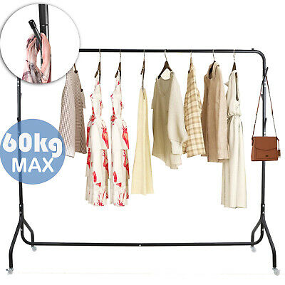 6FT Garment Clothes Rail Metal Heavy Duty Rack Home Shop Hanging Display Stand