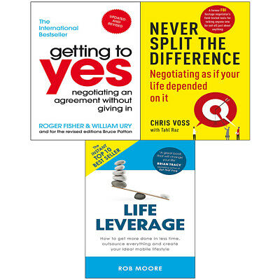 Never Split the Difference, Getting to Yes, Life Leverage 3 Books Collection Set