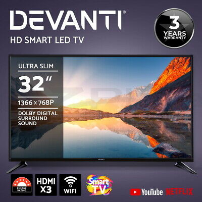 "Devanti Smart TV 32 Inch LED TV 32"" HD LCD Slim Screen Netflix Youtube 16:9"