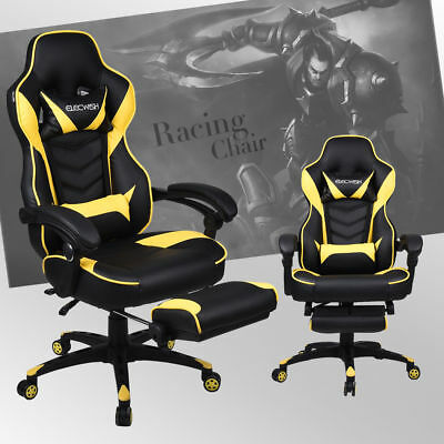 Executive Office Racing Gaming Chair High Back Recliner Computer Desk Footrest