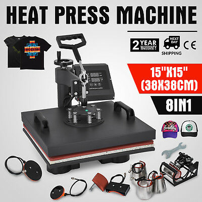"""8 in 1 Heat Press Machine For T-Shirts 15""""x15"""" Combo Kit Sublimation Swing away"""