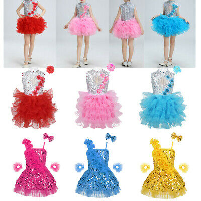 Kids Girls Shiny Sequins Dance Dress Jazz Performance Hip Hop Dancewear Costumes
