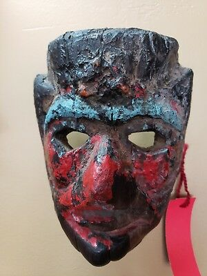 """Rare Antique African wood carved mask painted red and black 5"""" x 8"""""""