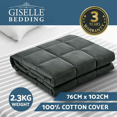 Giselle Bedding 2.3kg Cotton Weighted Blanket Heavy Gravity Sleep Kids Black