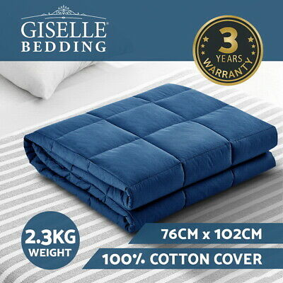 Giselle Bedding 2.3kg Cotton Weighted Blanket Deep Relax Gravity Kids Size Navy