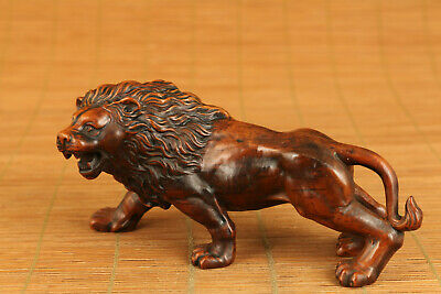 chinese old boxwood hand carved lion statue netsuke