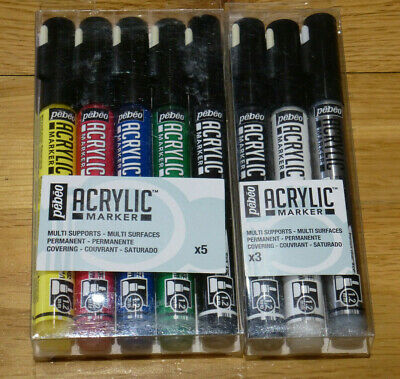 8 Pebeo Acrylic Paint Marker Pens SET of 5 & 3 PENS CRAFT, DIY – Round 1.2mm NEW