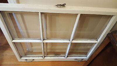 VINTAGE ANTIQUE WOOD WINDOW PICTURE FRAME RUSTIC 33x29 + hardware